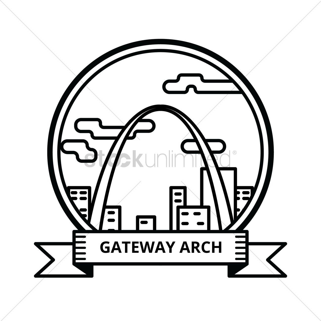 1300x1300 Gateway Arch Vector Image