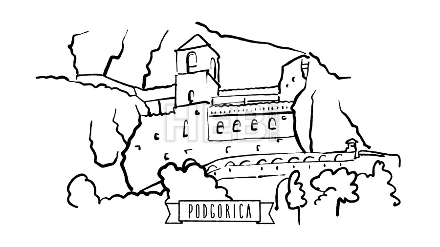 900x506 Podgorica, Montenegro, Self Drawing Lines On White Architecture