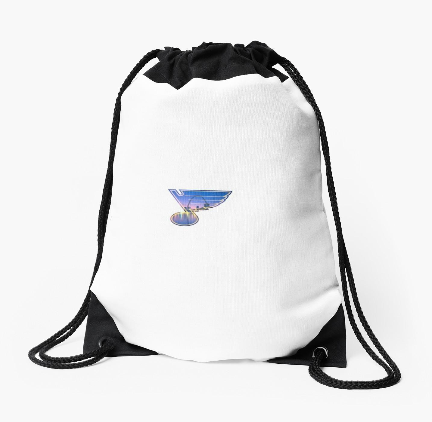 1435x1404 Saint Louis Blues Logo With City Skyline Drawstring Bags By