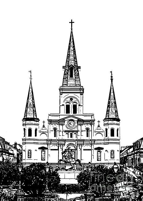 496x700 St Louis Cathedral Rising Above Jackson Square New Orleans Black