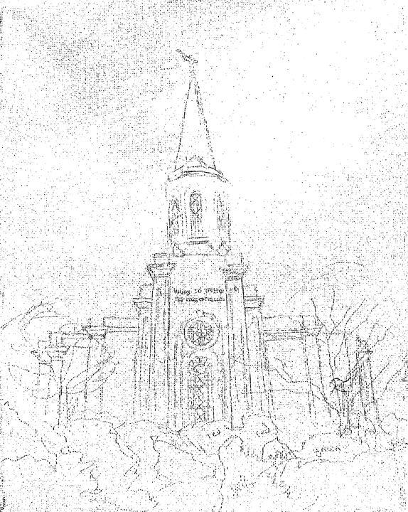 574x720 St Louis Missouri Lds Temple Sketch