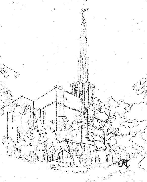 582x720 Tokyo Japan Lds Temple 2 Sketch