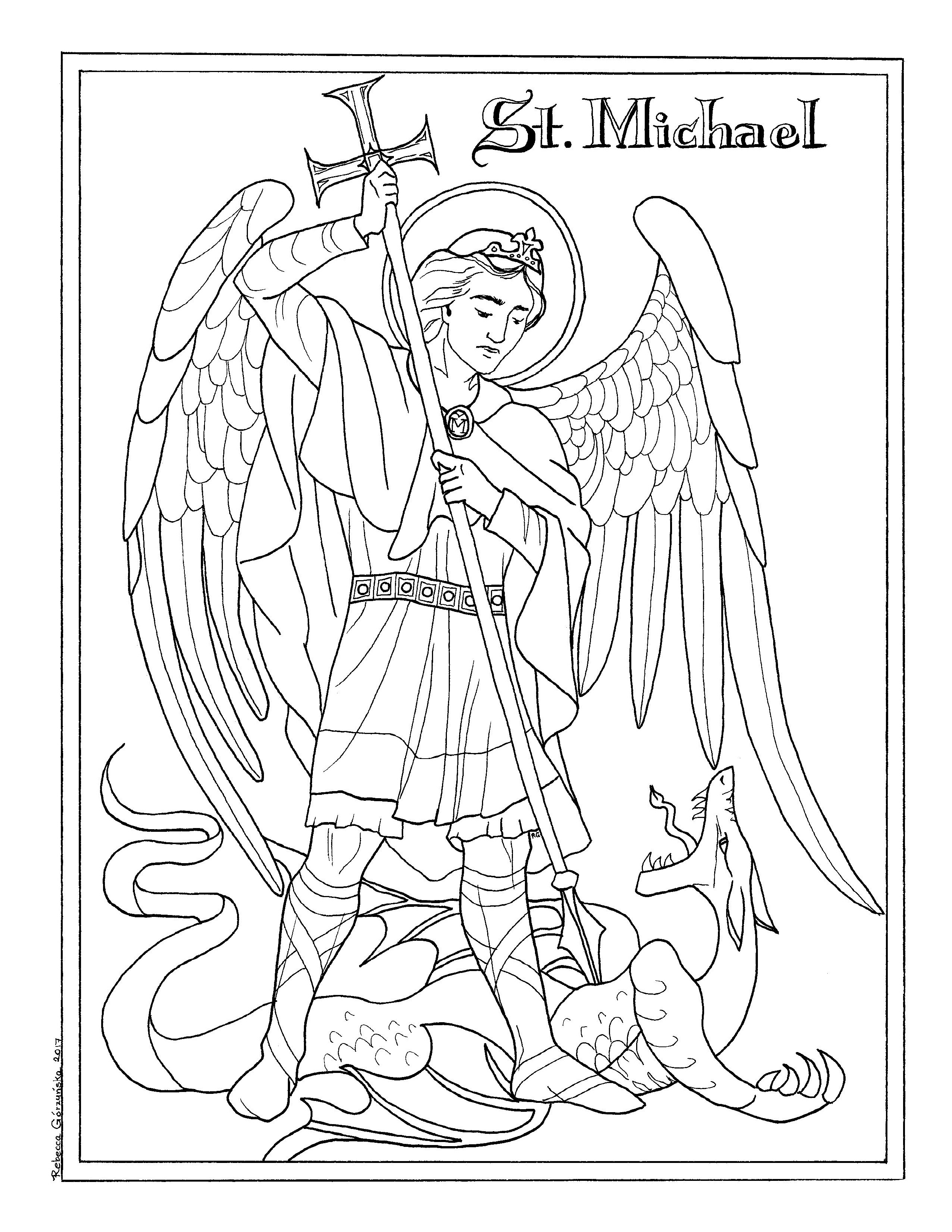 It is a picture of Rare St Michael The Archangel Drawing