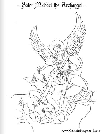 349x453 Saint Michael The Archangel Coloring Page September 29th