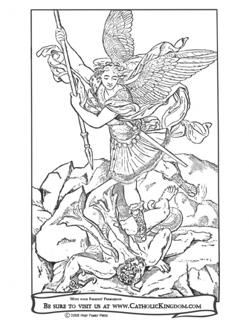 490x643 St Michael The Archangel Catholic Coloring Page Catholic Inside