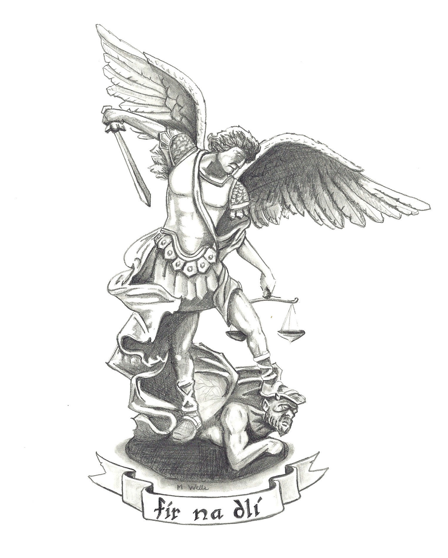 It's just a graphic of Geeky St Michael The Archangel Drawing