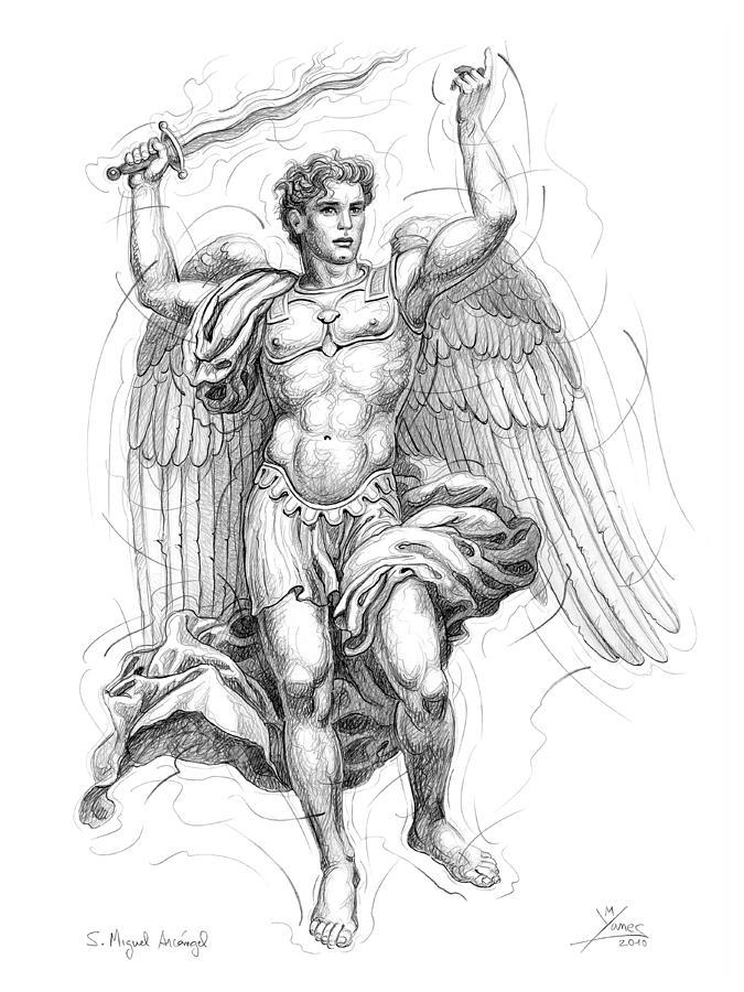 675x900 St. Michael Archangel Drawing By Manolo Yanes Fine Art