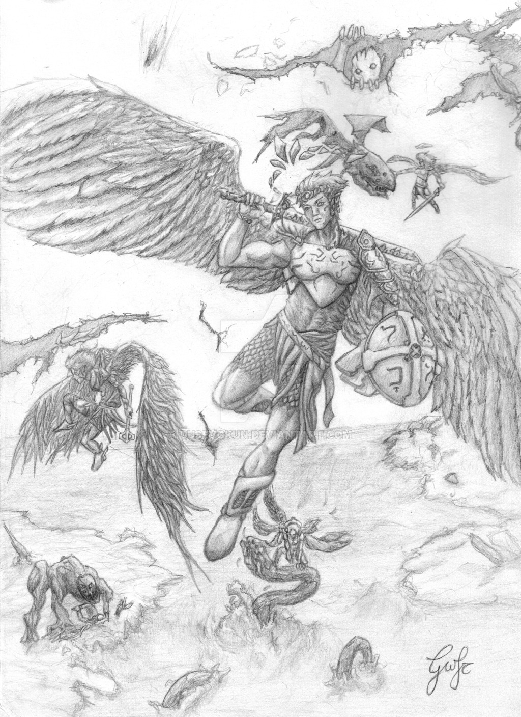 1024x1408 St. Michael And Heavens Army By Dusevokun
