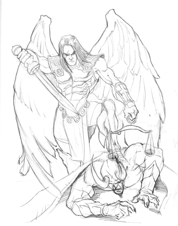 This is a photo of Mesmerizing St Michael The Archangel Drawing