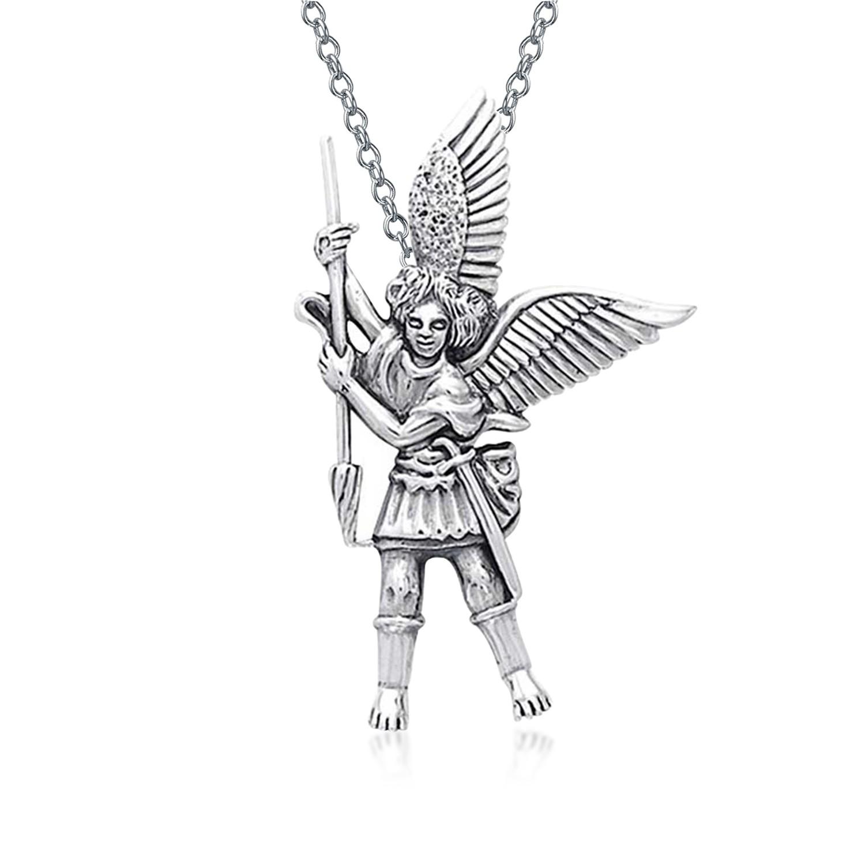 1500x1500 Sterling Silver Guardian Angel St. Michael The Archangel Pendant