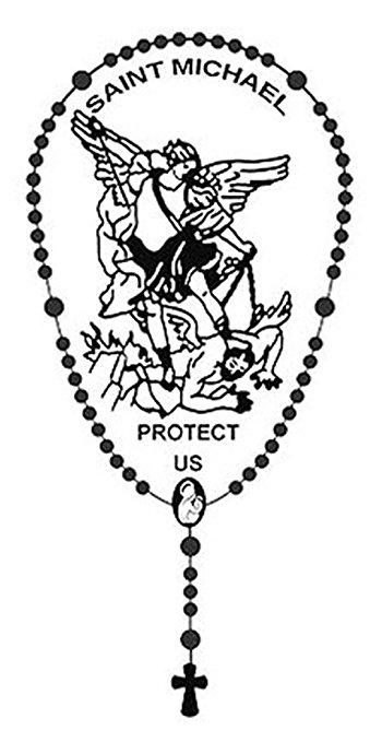 339x679 Archangel Saint St Michael Protect Us Rosary Metallic