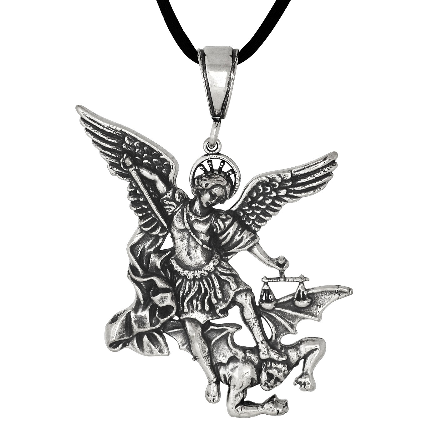 St michael the archangel drawing at getdrawings free for 1400x1400 sterling silver oxidized saint michael archangel pendant necklace aloadofball Images