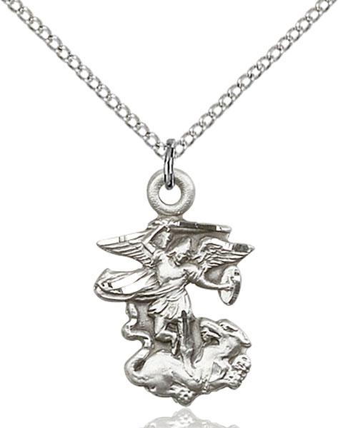 473x600 Sterling Silver St. Michael The Archangel Pendant Linden Leaf