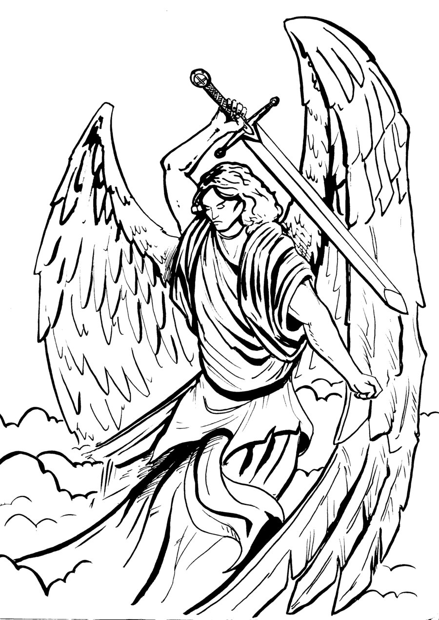 It is a graphic of Declarative St Michael The Archangel Drawing