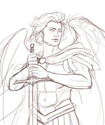 400x476 Archangel Michael Sketch By Milesboard