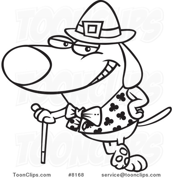 581x600 Cartoon Black And White Line Drawing Of A St Patricks Day Dog