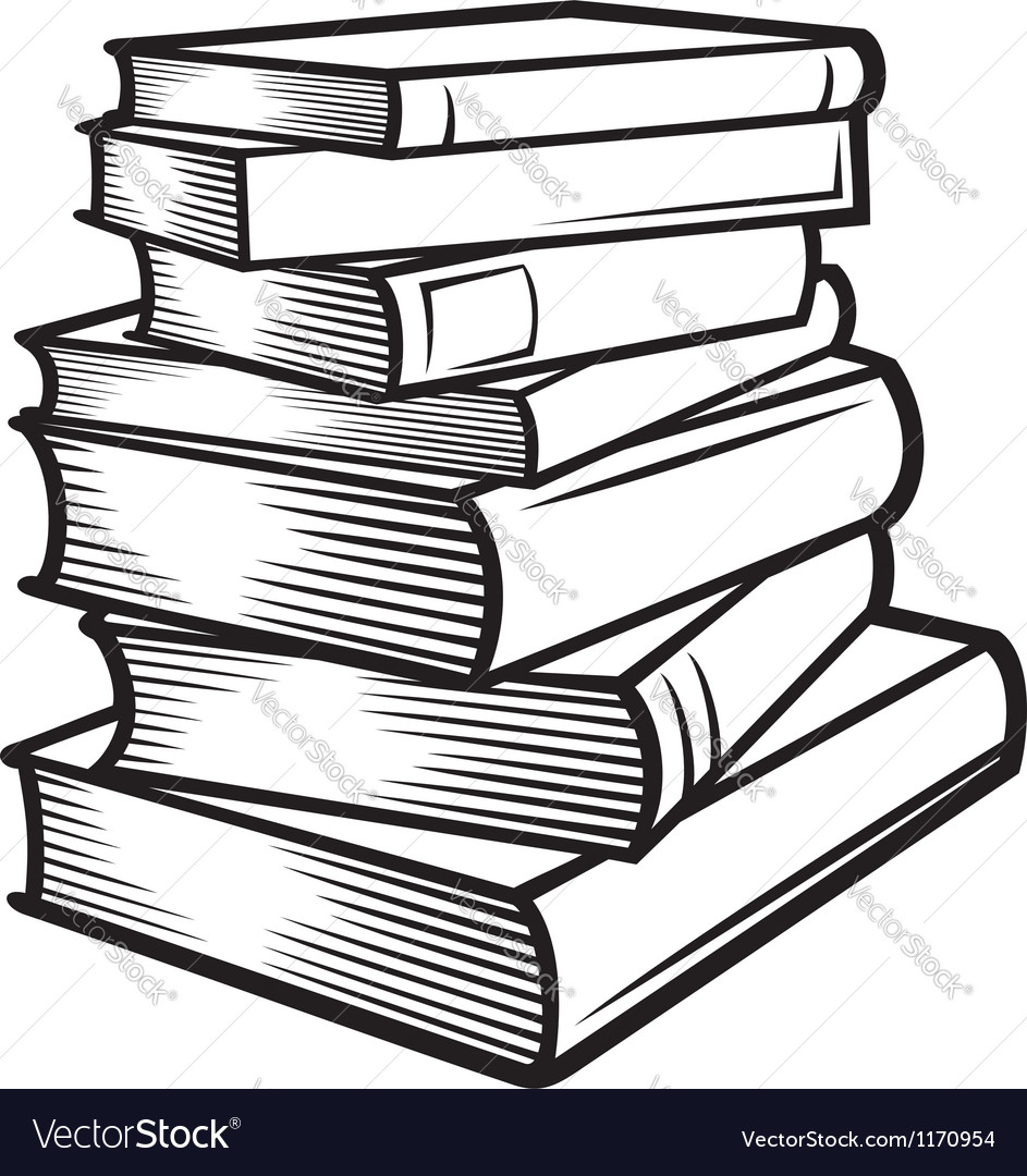 943x1080 Stack Of Books Drawing Stack Of Books Royalty Free Vector Image