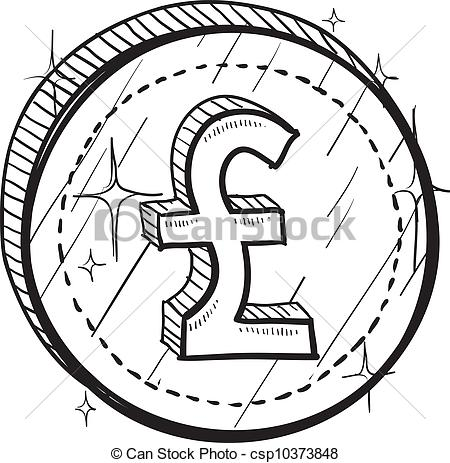 450x463 Line Drawing Coin Clipart
