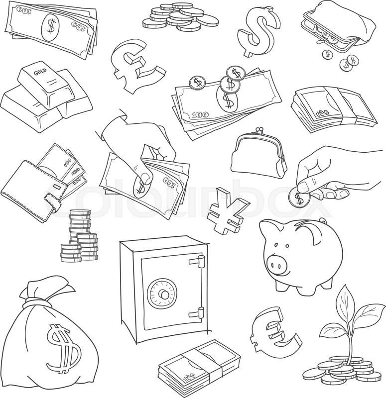 775x800 Set Of Doodle Money Symbol Vector Sketch. Coins, Stack, Treasure
