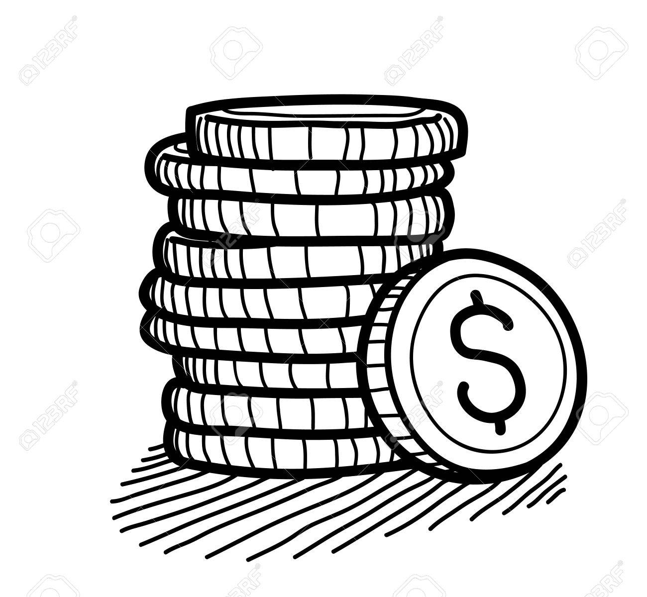 1300x1200 Stack Of Coins Doodle (Dollar), A Hand Drawn Vector Doodle