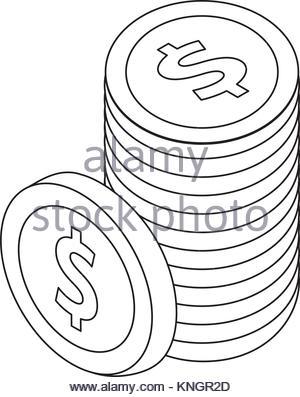 300x397 Coin Pile Dollar Money Outline Vector Illustration Eps 10 Stock