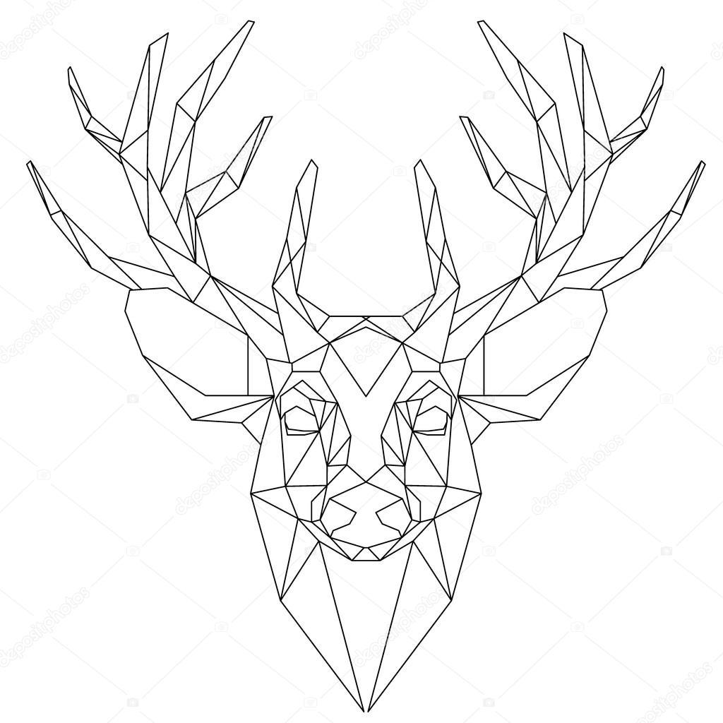 1024x1024 Deer Head Triangular Icon Stock Vector Yazzik