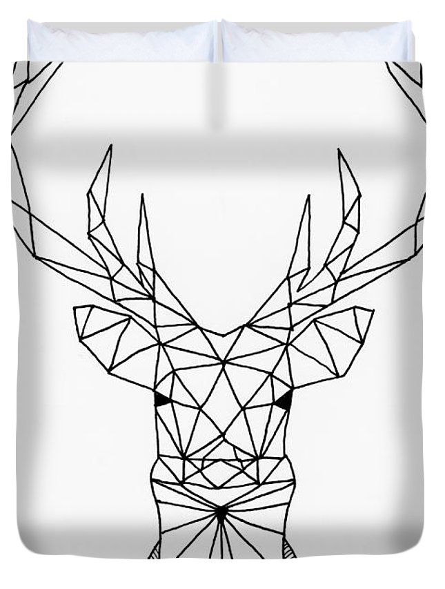 645x853 Geometric Stag Head Duvet Cover For Sale By Loren Hill