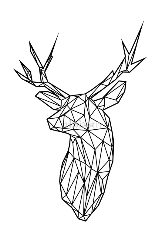 534x800 Black Wire Faceted Stag Trophy Head Posters By Dotsan Redbubble