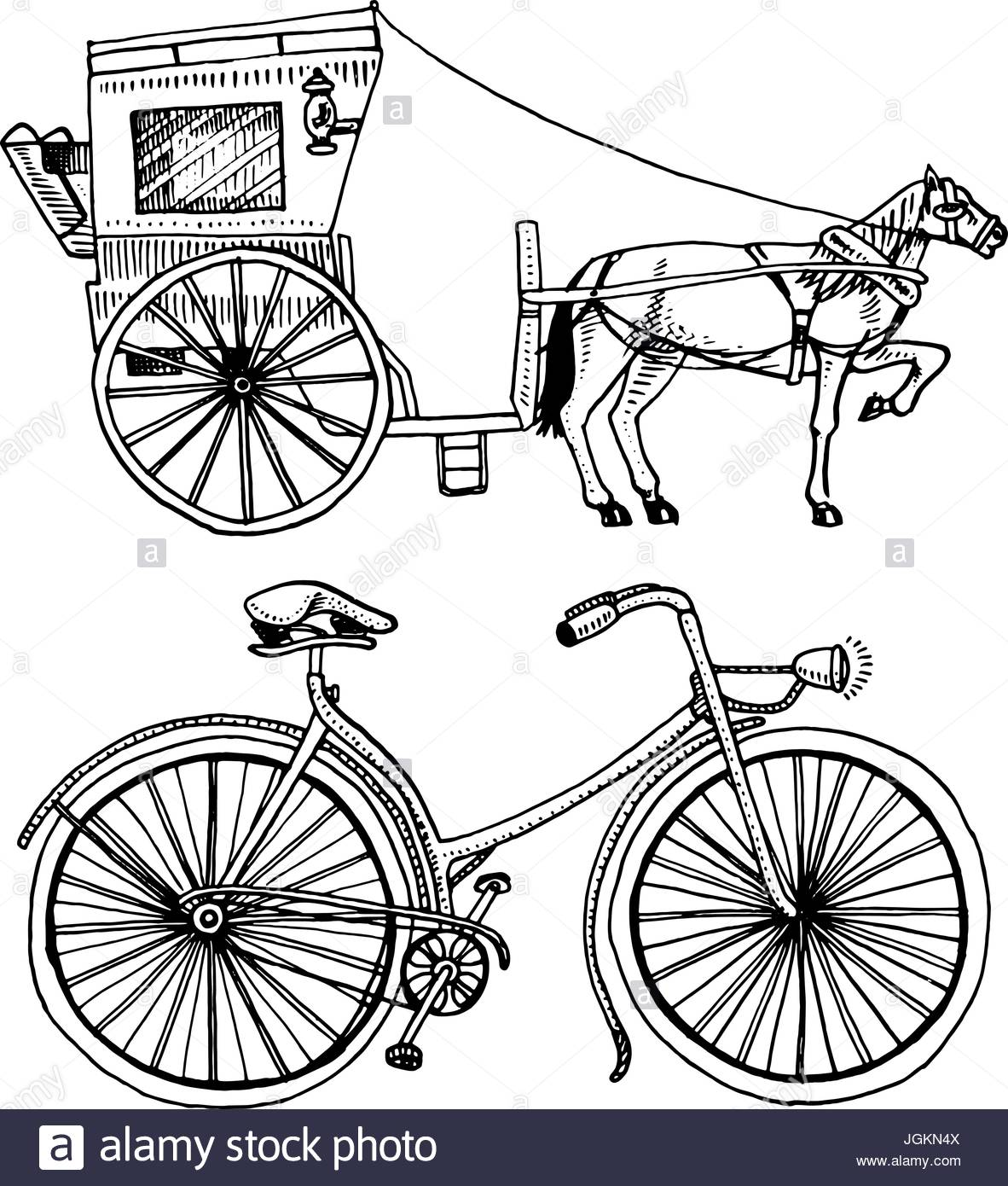 1182x1390 Horse Drawn Carriage Or Coach And Bicycle, Bike Or Velocipede