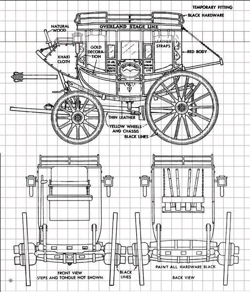 514x600 Overland Stagecoach Full Size Printed Plan 18 Scale Scale
