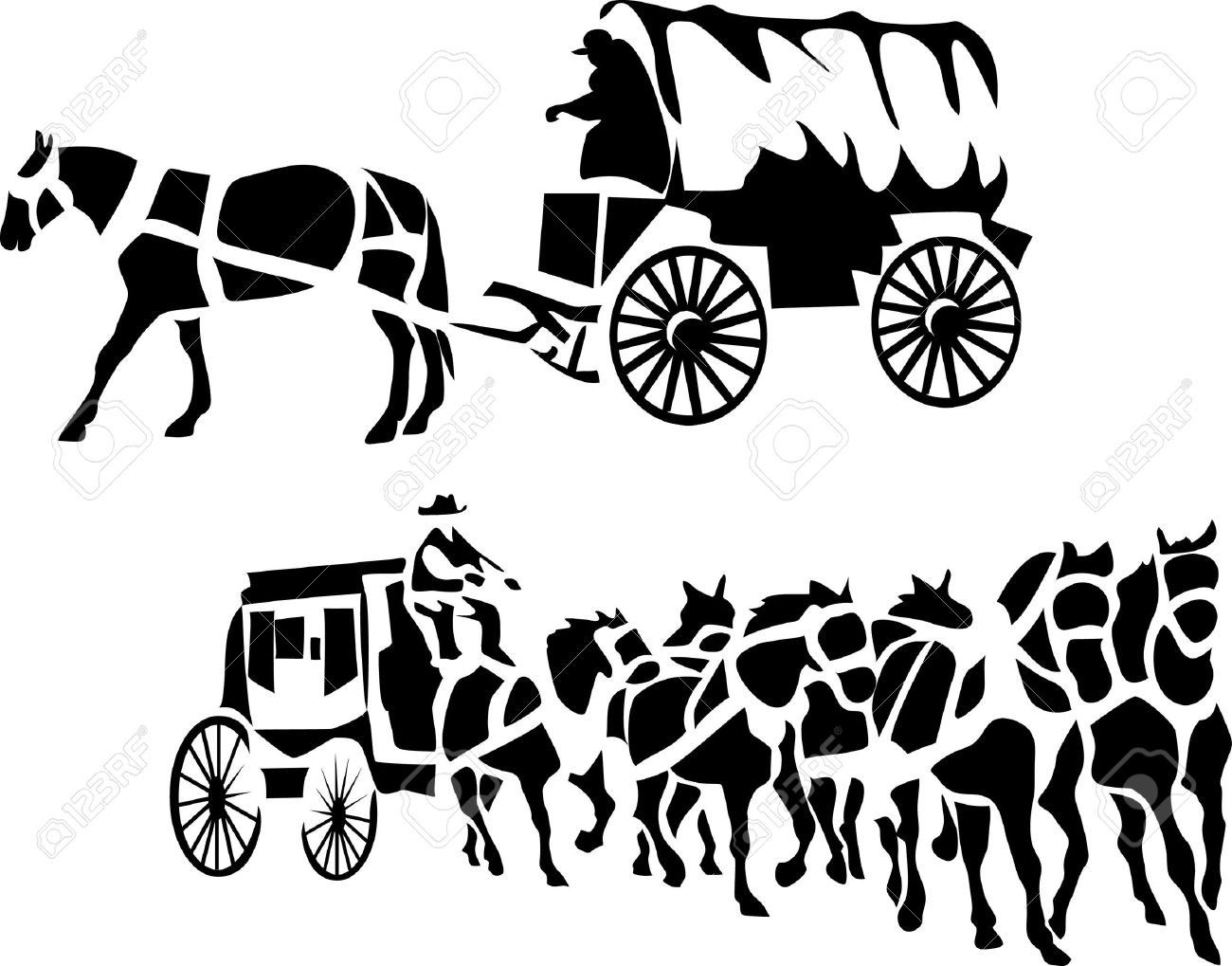 1300x1019 Stylized Chuck Wagon And Stagecoach Royalty Free Cliparts, Vectors