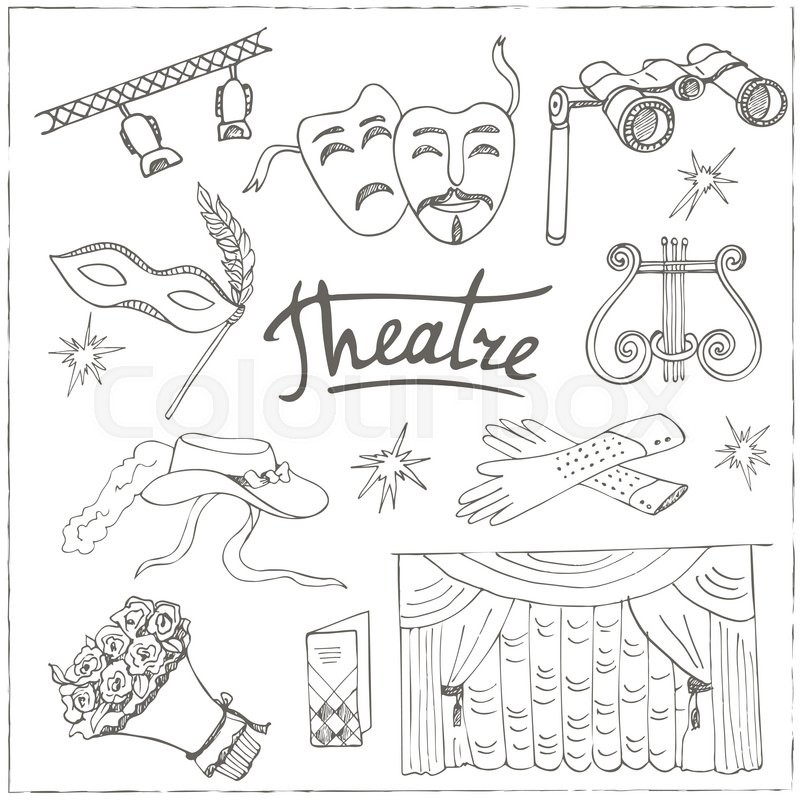 800x800 Hand Drawn Doodle Theater Set Masks Lyra Flowers Curtain Stage