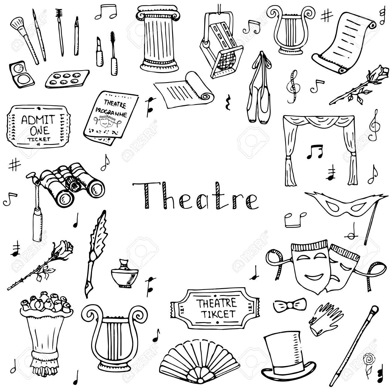 1300x1300 Hand Drawn Doodle Theatre Set Vector Illustration Sketchy Theater
