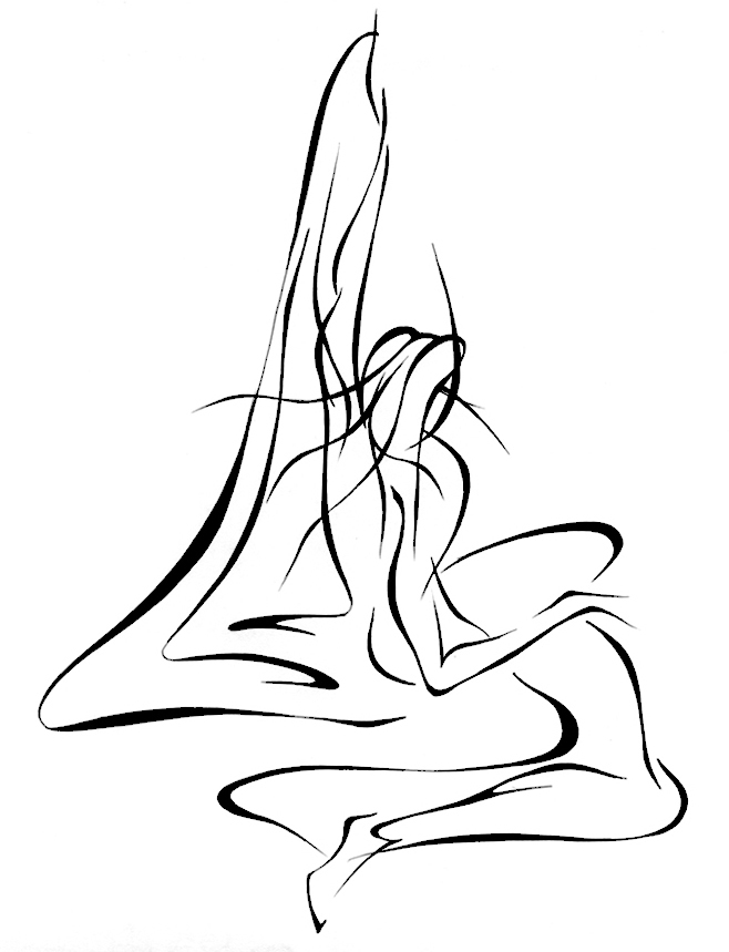 658x859 Lyudmila Kogan Artwork BEHIND STAGE CURTAIN Original Drawing