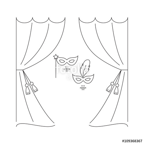 500x500 Theater Curtain And Masks Vector Line Illustration. Theater Logo