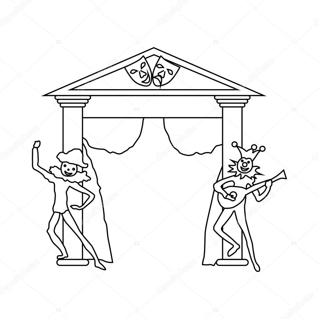1024x1024 Theater stage with open curtains and actors icon — Stock Vector