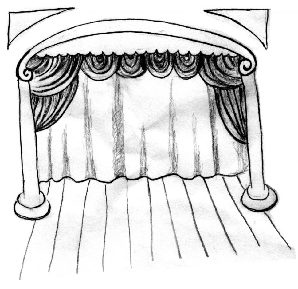 970x940 Unique Curtains Stage With Opened Red Theatre Curtain Royalty