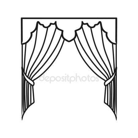 450x450 Curtain On Stage Icon, Outline Style Stock Vector Ylivdesign