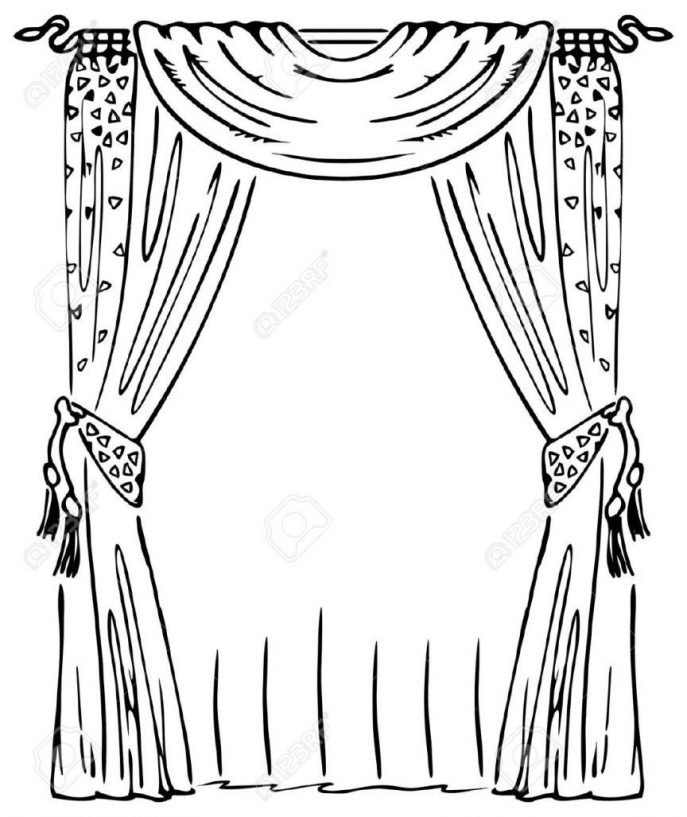687x817 Curtains Coloring Page Stock Vector Image Coloring Window
