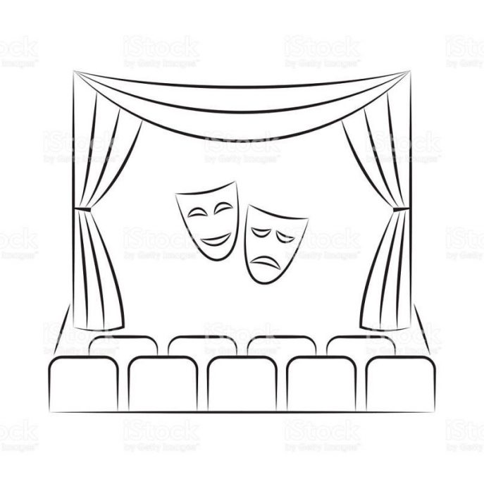 687x687 Curtains Vector Sketch Stock Art Istock Theater Stage Curtain