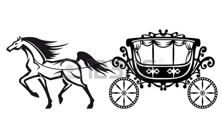 450x280 Vector Illustrations Of Silhouette Horse Drawn Carriage Royalty