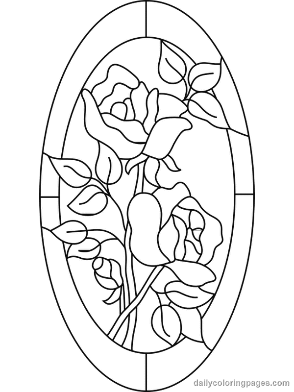 600x800 Free Coloring Pages For Adults Stained Glass Flower Coloring