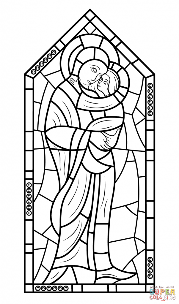 602x1024 Mother Mary With God Jesus Stained Glass For Coloring Page