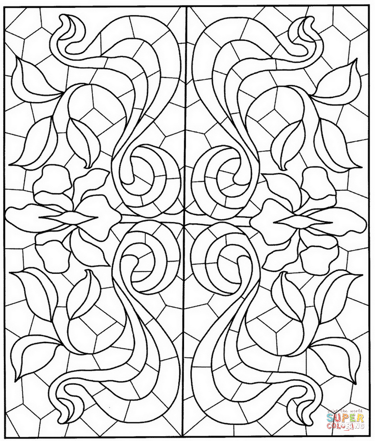 766x899 Square Mandala With Stained Glass Pattern Coloring Page Free