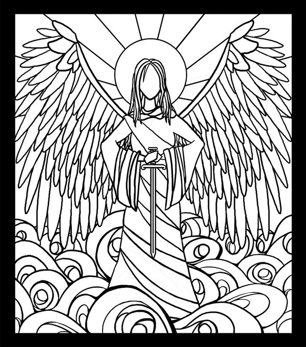 600x680 Stained Glass Angel Lineart By Lordcheeezzee