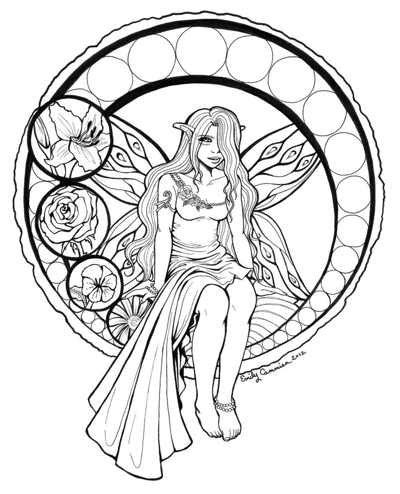 804x993 Stained Glass Fairy Lineart By Emilycammisa