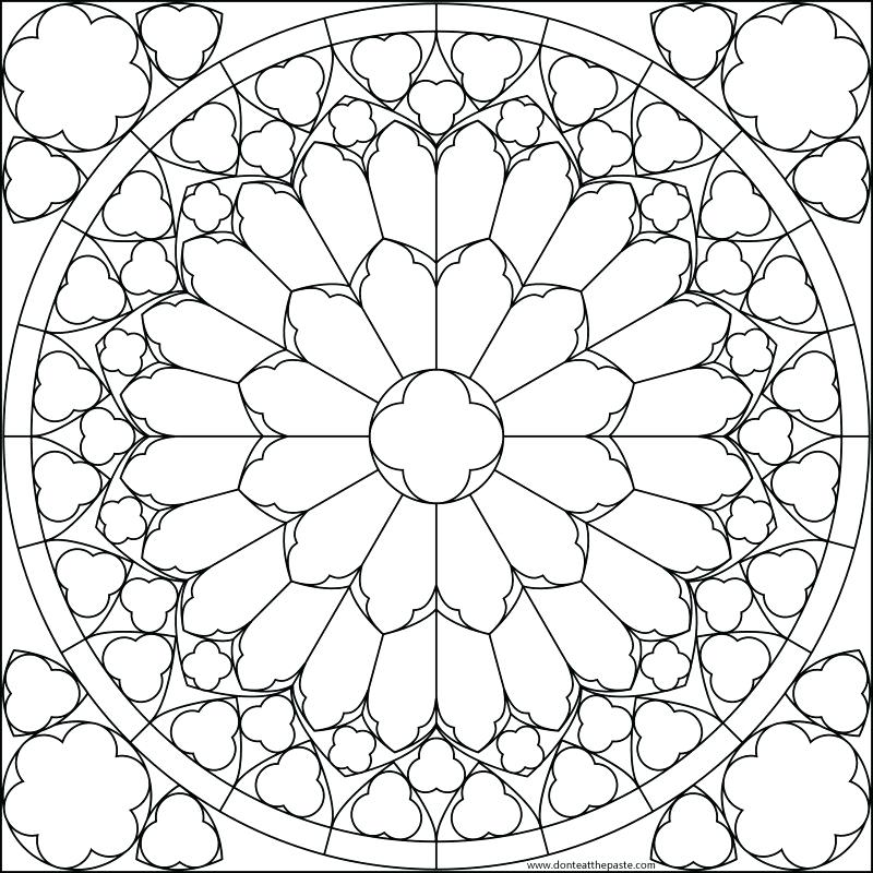 800x800 Stained Glass Window Coloring Page Collections Of Free Printable