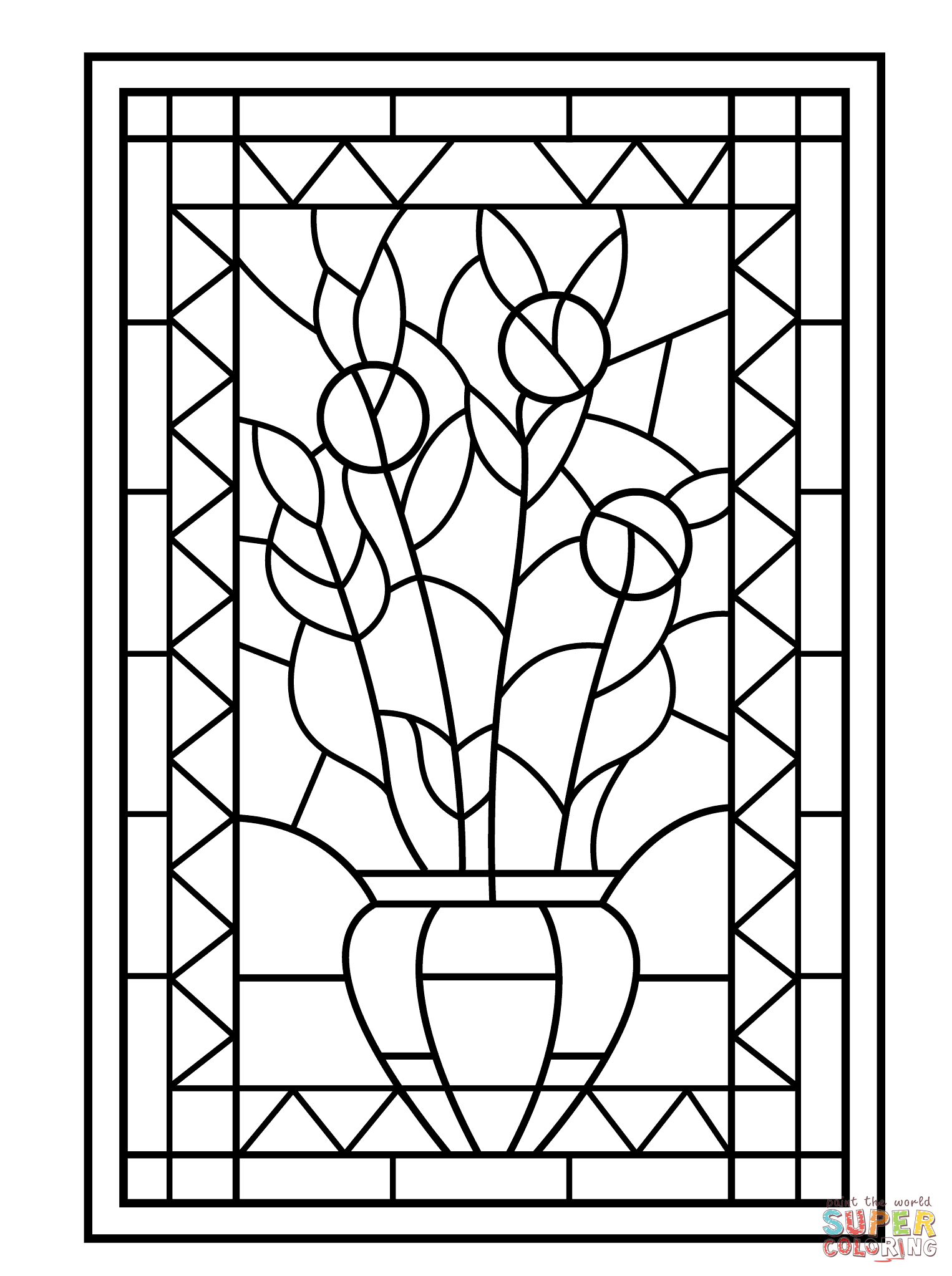 1526x2046 Flower Vase Stained Glass Coloring Page Free Printable Coloring