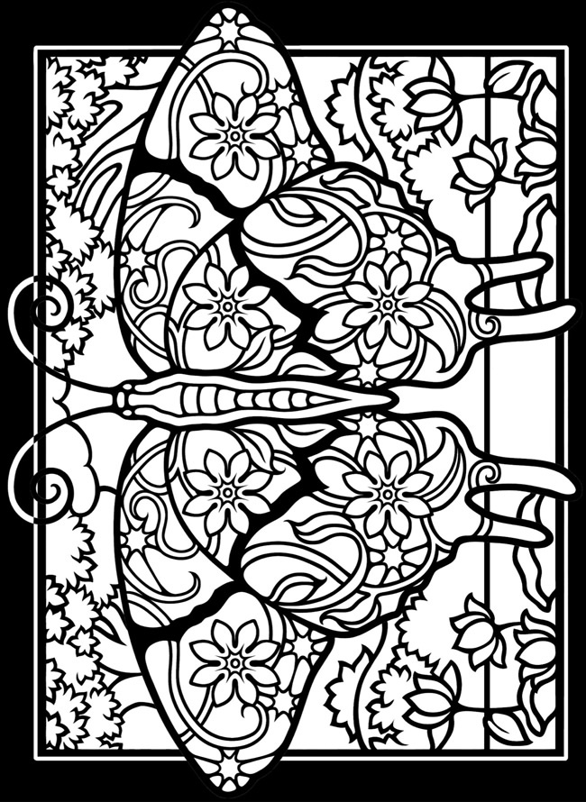 650x890 Fancy Stained Glass Coloring Pages For Adults 37 With Additional