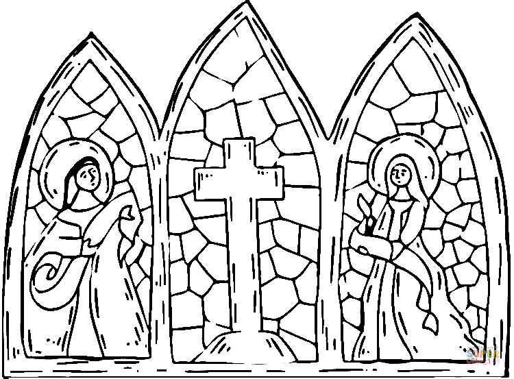750x553 Free Stained Glass Cross Coloring Page